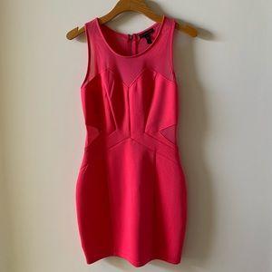 Hot pink mini dress with mesh cutouts